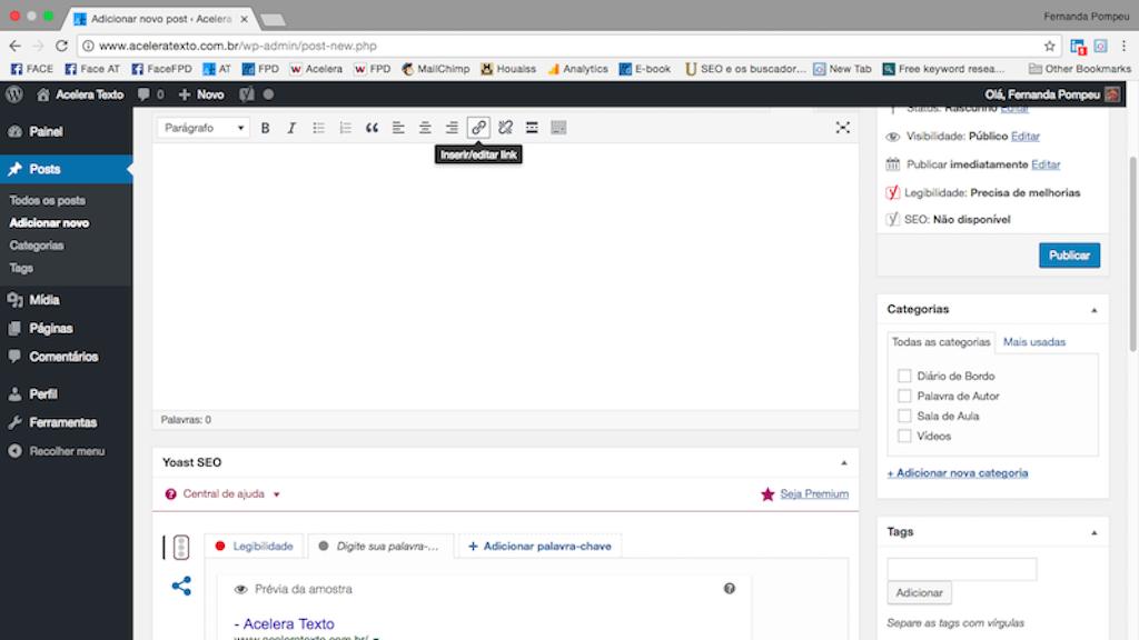 como fazer link no wordpress